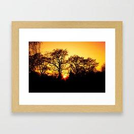 Tree with Sunset Framed Art Print
