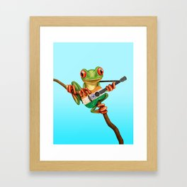 Tree Frog Playing Acoustic Guitar with Flag of India Framed Art Print