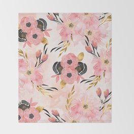 Night Meadow Blush Pink Throw Blanket