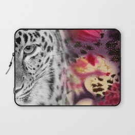 Black & White Leopard & Floral Collage Laptop Sleeve