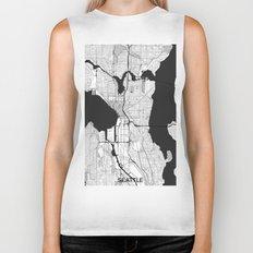 Seattle Map Gray Biker Tank