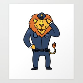 Police security lion cartoon children gift Art Print