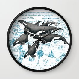 Orca Whales Family Blue Vintage Map Wall Clock