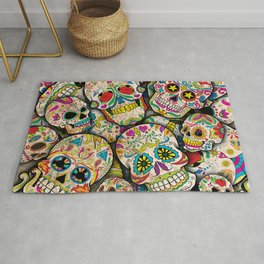 Sugar Skull Collage Rug