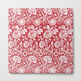 "William Morris Floral Pattern | ""Pink and Rose"" in Red and White Metal Print"