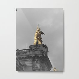Paris architecture black and white with color GOLD Metal Print