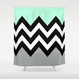 DOUBLE COLORBLOCK CHEVRON {MINT/BLACK/GRAY} Shower Curtain