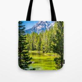Alpine Lake Framed Grand Teton National Park Print Tote Bag