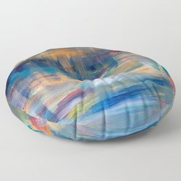 Spiral reach acrylic abstract art original painting in blue, navy, teal and gold Floor Pillow