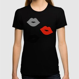 Retro Lips - Red, Grey and Black Pattern T-shirt