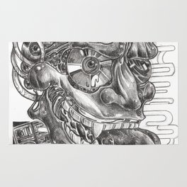 Sketching of hannya  mask Rug