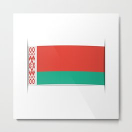 Flag of Belarus.  The slit in the paper with shadows.  Metal Print