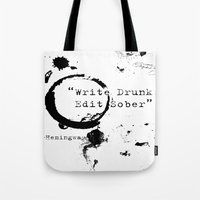hemingway Tote Bags featuring Hemingway Writing Quote by Novel Reveries