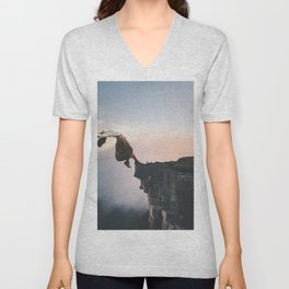 Up in the Clouds-Surreal Levitation Off a Cliff Unisex V-Neck