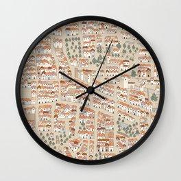 Bird's-Eye View on Peaceful European Renaissance Provinces Wall Clock