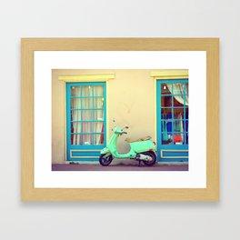 TEAL COLORED MOTORBIKE Framed Art Print