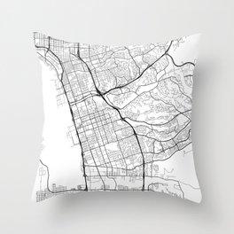 Chula Vista Map, USA - Black and White Throw Pillow