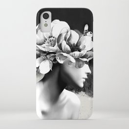 Floral Portrait-black and white iPhone Case