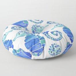 Seahorse - Blue  Floor Pillow