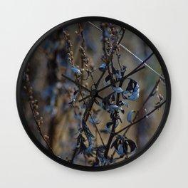 Sunny Blue Autumn Leaves Wall Clock