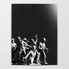 Plastic Army Man Battalion Black and White Childhood Kids Play Children Boys Girls Nostalgia Retro T Poster