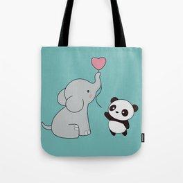 Kawaii Cute Elephant and Panda Tote Bag