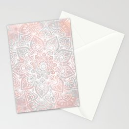 Mandala, Yoga, Love, Coral and Gray, Wall Art Boho Stationery Cards