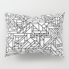 GEOMETRIC BLACK AND WHITE OUTLINES SHAPES MINIMAL MINIMALIST DIGITAL PATTERN Pillow Sham