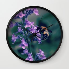 Bee on Purple Lobelia Wall Clock