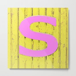 Letter s in pink and yellow Metal Print