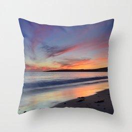 """Bolonia beach at sunset"" Throw Pillow"