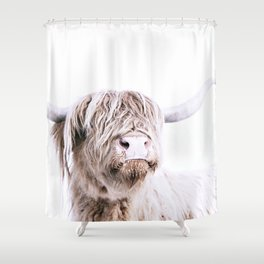 Highland Cattle Portrait Shower Curtain
