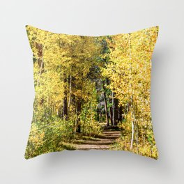 Yellow Tree Road // Hiking in the Forest Deep Into Autumn Colorful Trees Throw Pillow