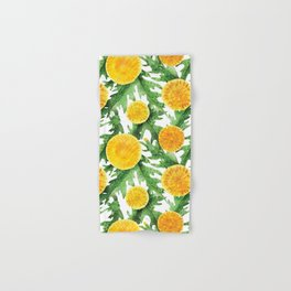 Watercolor Dandelion Pattern in Green and Yellow Hand & Bath Towel