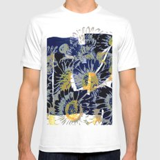 daisies on astract bakground MEDIUM Mens Fitted Tee White