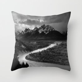 Ansel Adams - The Tetons and Snake River Throw Pillow