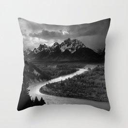 Ansel Adams - The Tetons and Snake River Throw Pillow