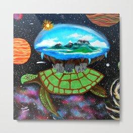 Cosmic Turtle Journey Through Space Metal Print