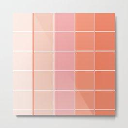 Peach + Gradient Grid Metal Print