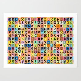 Chicks&Type Pattern SMALL Art Print