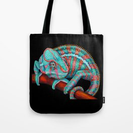 Panther Chameleon Turquoise Blue & Coral Red Tote Bag