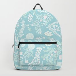 Floral Bliss Pastels on Aquamarine Décor Backpack