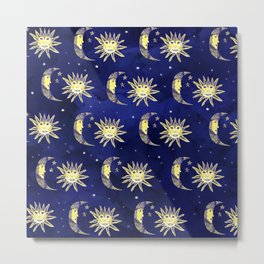 Cosmos sun moon and stars pattern blue watercolor  Metal Print
