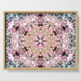 pink blue spring mandala art Serving Tray