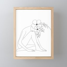 Minimal Line Art Nude Woman with Flowers Framed Mini Art Print