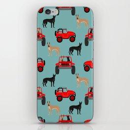 Great Dane jeep car dog breed pattern custom pet portrait iPhone Skin