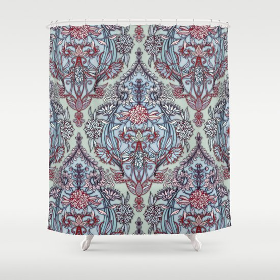 Botanical Moroccan Doodle Pattern In Navy Blue Red Amp Grey