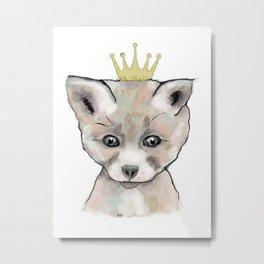 Little King Fox Metal Print
