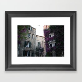with purple flowers overgrown house in Saint Tropez France in Summer Framed Art Print