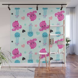 Sea Animals, Octopuses, Jellyfishes, Hearts, Stars Wall Mural